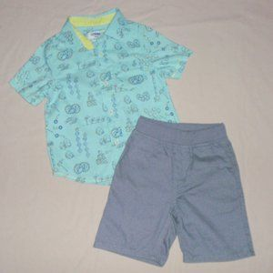 Genuine Kids Boys Outfit Button Up Shirt Shorts 3t